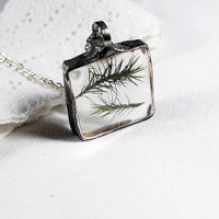 Bohemian jewelry, Statement necklace, Clear glass necklace, terrarium pendant, Real dried green moss square, woodland botanical
