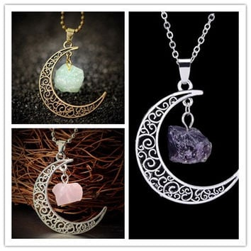 Vintage Moon Necklace Irregular Natural Stone Pendant Necklaces Amethyst Rose Quartz Crystals Antique Bronze Chains Jewelry
