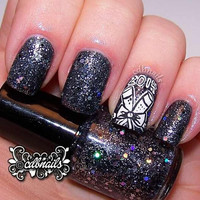 New Years Eve - Black And Silver Handmade Nail Polish