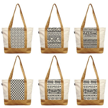 Aztec Motif Tribal Zigzag Seamless Pattern Print Canvas Shoulder Bags WAS_13