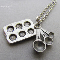 Bakers Necklace, Muffin Pan And Measuring Spoons Silver Necklace