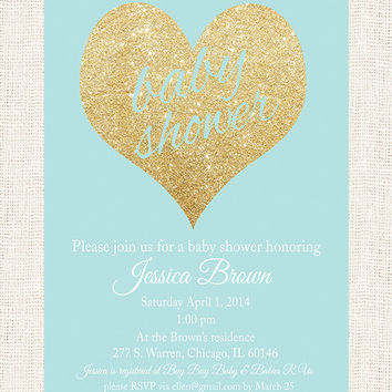 Boy Baby Shower Invitation Blue and gold baby shower boy invitation digital file invite diy printable jpg