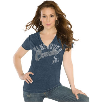 Touch by Alyssa Milano Vancouver Canucks Ladies Touch Kickstart V-Neck Burnout T-Shirt - Navy Blue