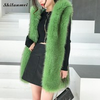 Winter Women Pink Faux Fur Vest Slim Long Faux Fur Coat Women Gilet Fourrure Hair Fox Fur Femme Vest Long Coat Faux Fur Jacket