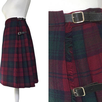 Vintage Kilt | Tartan Kilt | Wool Skirt | Pure New Wool | Deep Red And Green | 1970's Pleated Skirt | Preppy Plaid Skirt