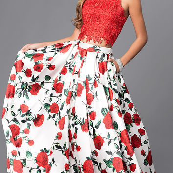 Long Print and Embroidered Two Piece Prom Dress