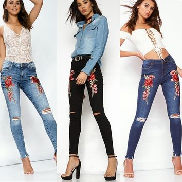 Embroidery Ripped Holes Pen Pants Jeans [526050197534]