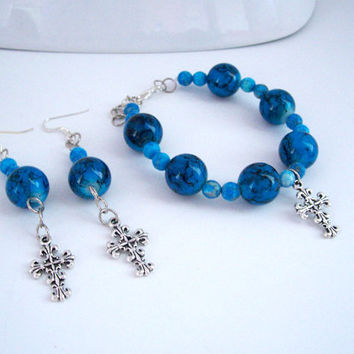 Cross Bracelet and Earrings Jewelry Set, Christian Jewelry, Earring and Bracelet Set, Cobalt Blue and Silver Bracelet and Earrings Set