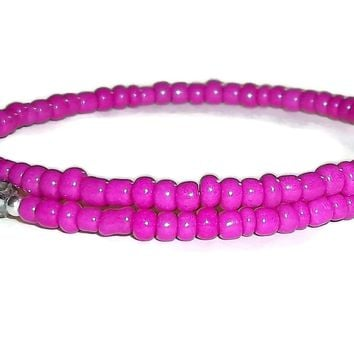 Fuscia Pink Glass & Shimmering Grey Swarovski Crystal Beaded Artisan Crafted  Stackable Bracelet (XS-S)