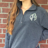 Monogram Fleece Zip Pullover, Monogrammed Pullover, Monogram Fleece Sweatshirt, Team Pullovers, Bridesmaid Gift, Sorority Gift