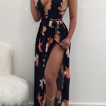 BLACK FLORAL PRINT PLUNGE NECKLINE SLEEVELESS OPEN BACK DESIGN OPEN SLIT MAXI DRESS