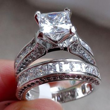 Wensltd Clearance! 2-in-1 Womens Vintage White Diamond Silver Engagement Wedding Band Ring Set