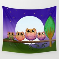 Cute Full Moon Owls on a branch Wall Tapestry by thea walstra
