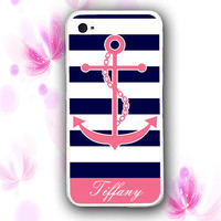 Personalized Nautical Anchor Stripe iPhone Case - Rubber Silicone iPhone 4 Case
