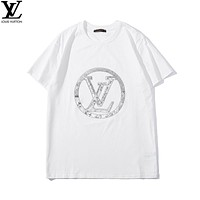 GUCCI 2019 early spring new large LOGO sequins custom embroidery simple couple models round neck short-sleeved T-shirt White+silver logo