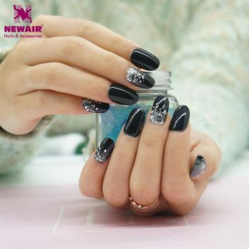 Shining Silver Black Cured Oval False Nail with Adhesive Sticker Acrylic Fake Fingernails Tip for Salon Nail Art