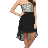 Strapless Dress with Metallic Gold Bodice and High Low Skirt - Clearance