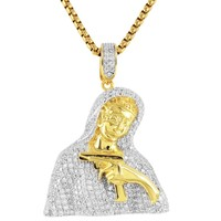 Iced Out Mother Mary with Gun Sterling Silver Pendant Chain