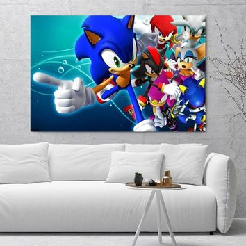 Nice Sonic The Hedgehog Poster Print Cloth Fabric Wall Poster Print Silk Fabric Print Poster