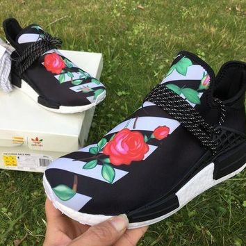 CHEN1ER ADIDAS X BAPE PW HUMAN RACE NMD_R1 BB0622 BOOST BLACK-GREEN-ROSE Running shoes for Wom