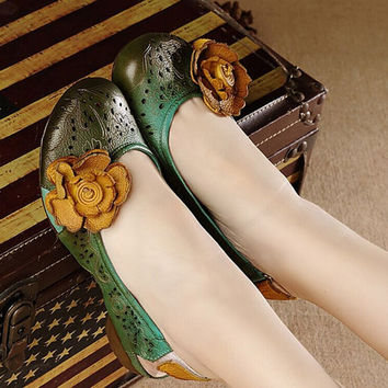 Sweet Flower Handmade Retro Natural Leather Shoes for Women Slingback Sandals,Flower Girl Shoes,Womens Fashion Round Toe Designer Shoes
