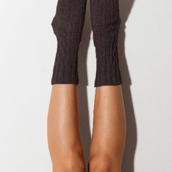 Carbon Marled Cable Knit Crew Socks