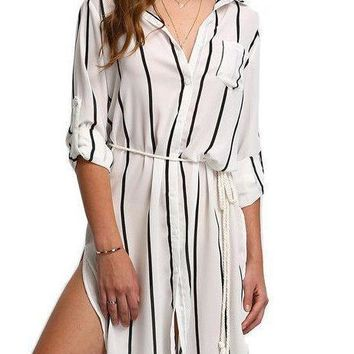 COLROVIE Black and White Vertical Stripe Pocket Split Shirt Dress Women Work Wear Lapel Tie Waist Shift Dress
