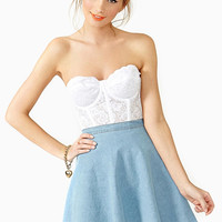 Blue Denim Skater Skirt