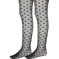 River Island Girls black heart tights