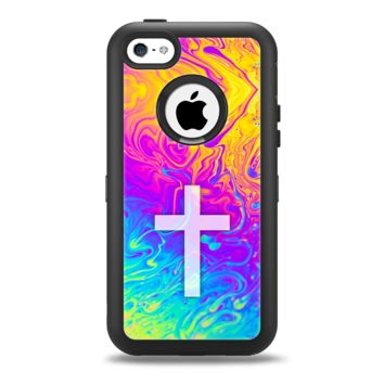 The Vector White Cross v2 over Neon Color Fushion V2 Apple iPhone 5c Otterbox Defender Case Skin Set
