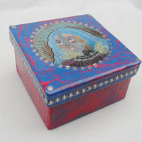 Art Trinket Box - Angel Trinket Box - Unique Trinket Box - Jewelry Box - Blue Pink Box - Handmade Jewelry Box - Unique Gift