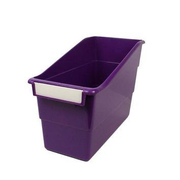 PURPLE SHELF FILE WITH LABEL HOLDER