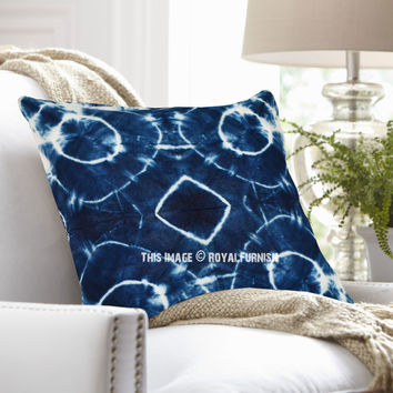 Decorative Dark Blue Bubble Shibori Indigo Throw Pillow Cover 16X16 Inch on RoyalFurnish.com