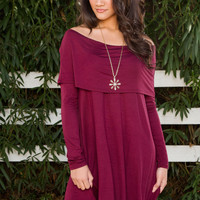 Louise Off The Shoulder Dress - Burgundy
