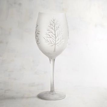 Frosted Tree Painted Wine Glass