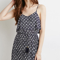Tile Print Flounce Dress
