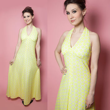 Neon Lemon Lace Halter Maxi Dress from the 1970's
