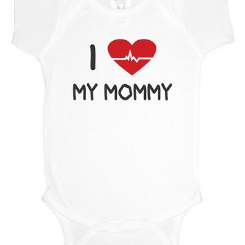 I love my mommy or daddy bodysuit, doctor, nurse, baby shower gift, baby girl clothes, baby boy, gift under 20
