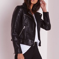 Missguided - Faux Leather Biker Jacket Black