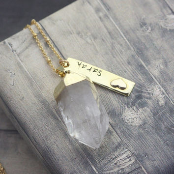 14 karat Gold clad hand stamped name necklace, custom engraved Gold necklace, Quartz point, gold name necklace