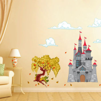 kcik1668 Full Color Wall decal bedroom children's room decor Custom Baby Nursery Castle tree clouds Cinderella princess
