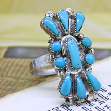 Vintage Turquoise Cocktail Ring | Boho Gypsy Ring | Native American Petit Point Ring | Silver Gemstone Ring | 1970s Hippie Jewelry |Size 7.5