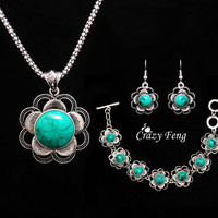 Trendy  Women flowers  tibetan silver Turquoise Crystal Jewelry Sets party  wedding women gift  Jewelry Sets 1 set Free shipping