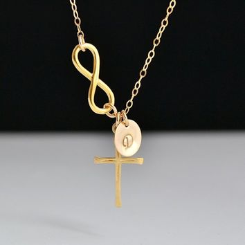 Infinity Cross Necklace, Initial Disc Necklace, Sterling Silver, Gold, Rose Gold, Infinity Initial Necklace, Personalized