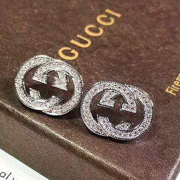 GUCCI New fashion more diamond earring women accessories Silver