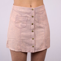 WASHED PINK MINI SKIRT