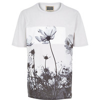 River Island MensStone Holloway Road floral print t-shirt
