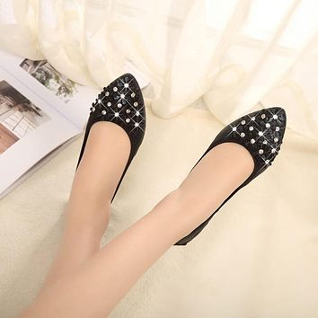 Elegant Pointed Toe Oxford Glitter Flats