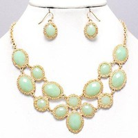 Seafoam Mint Hues Statement Gold Chunky Art Necklace Set Elegant Costume Jewelry