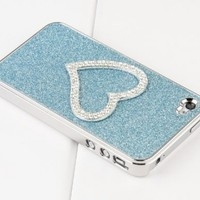 Pandamimi Girls 2nd Generation Light Blue Chrome Glitter Bling Sweet Heart Crystal Rhinestone Hard Case Cover With Cute Stylus , Free Screen Protector